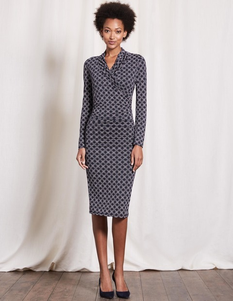 Ruched Wrap Dress Navy Honeycomb Spot Women, Navy Honeycomb Spot - style: faux wrap/wrap; length: below the knee; neckline: v-neck; fit: tight; predominant colour: navy; occasions: evening; fibres: viscose/rayon - stretch; sleeve length: long sleeve; sleeve style: standard; texture group: jersey - clingy; pattern type: fabric; pattern: patterned/print; season: a/w 2016; wardrobe: event