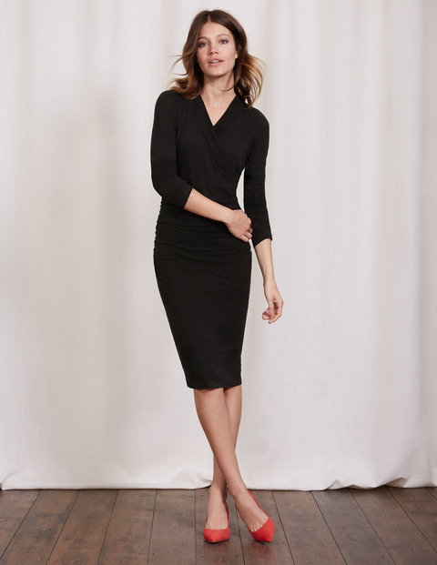 Ruched Wrap Dress Black Women, Black - style: faux wrap/wrap; length: below the knee; neckline: v-neck; fit: tight; pattern: plain; predominant colour: black; occasions: evening; fibres: viscose/rayon - stretch; sleeve length: 3/4 length; sleeve style: standard; texture group: jersey - clingy; pattern type: fabric; season: a/w 2016