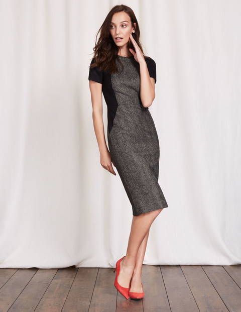 Imelda Dress Grey Herringbone Women, Grey Herringbone - style: shift; fit: tailored/fitted; predominant colour: charcoal; secondary colour: black; occasions: evening, work; length: on the knee; fibres: wool - 100%; neckline: crew; sleeve length: short sleeve; sleeve style: standard; pattern type: fabric; pattern: colourblock; texture group: jersey - stretchy/drapey; season: a/w 2016; wardrobe: highlight