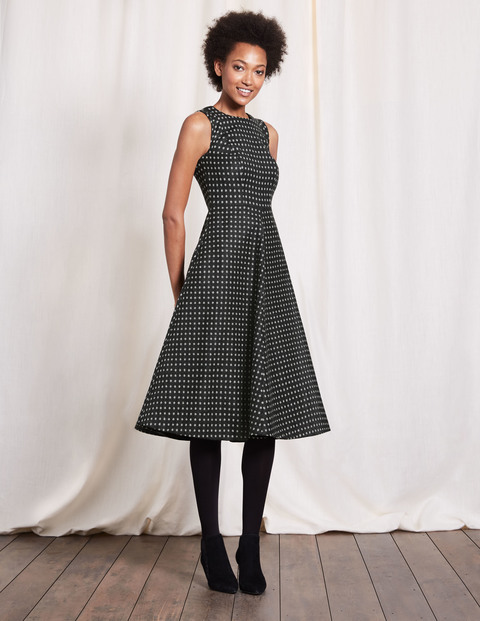 Octavia Dress Black & Ivory Spot Women, Black & Ivory Spot - length: below the knee; sleeve style: sleeveless; pattern: checked/gingham; predominant colour: charcoal; occasions: evening, work; fit: fitted at waist & bust; style: fit & flare; fibres: wool - mix; neckline: crew; sleeve length: sleeveless; pattern type: fabric; texture group: woven light midweight; season: a/w 2016; wardrobe: highlight