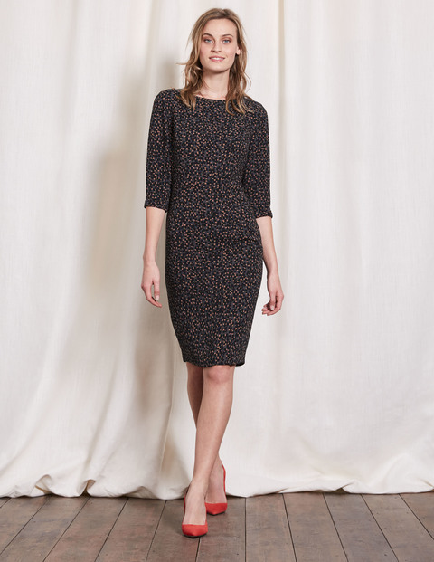 Rosalind Dress Raven Animal Women, Raven Animal - style: shift; predominant colour: charcoal; occasions: evening; length: on the knee; fit: body skimming; fibres: polyester/polyamide - 100%; neckline: crew; sleeve length: 3/4 length; sleeve style: standard; pattern type: fabric; pattern: patterned/print; texture group: jersey - stretchy/drapey; season: a/w 2016