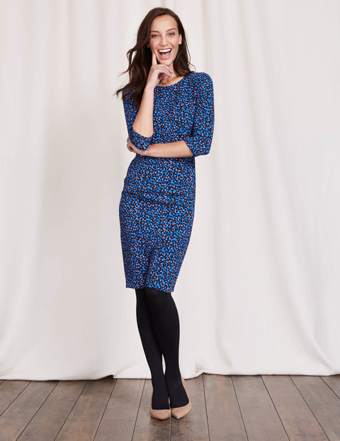 Rosalind Dress Blue Animal Women, Blue Animal - style: shift; neckline: round neck; predominant colour: diva blue; occasions: evening; length: on the knee; fit: body skimming; fibres: polyester/polyamide - 100%; sleeve length: 3/4 length; sleeve style: standard; pattern type: fabric; pattern: animal print; texture group: jersey - stretchy/drapey; multicoloured: multicoloured; season: a/w 2016