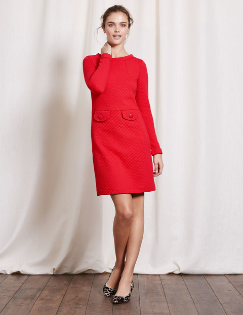 Sixties Jacquard Dress Beatnik Red Women, Beatnik Red - style: shift; pattern: plain; predominant colour: true red; occasions: evening; length: just above the knee; fit: body skimming; fibres: polyester/polyamide - stretch; neckline: crew; sleeve length: long sleeve; sleeve style: standard; pattern type: fabric; texture group: brocade/jacquard; season: a/w 2016; wardrobe: event