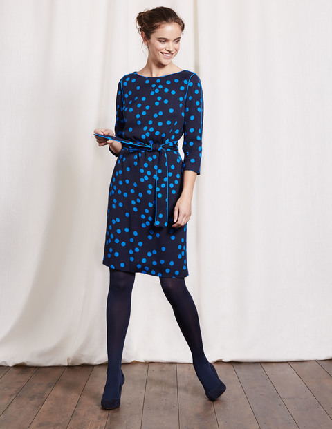Kelly Dress Navy Scattered Spot Women, Navy Scattered Spot - style: shift; waist detail: belted waist/tie at waist/drawstring; secondary colour: diva blue; predominant colour: navy; occasions: evening, creative work; length: just above the knee; fit: straight cut; fibres: viscose/rayon - 100%; neckline: crew; sleeve length: 3/4 length; sleeve style: standard; pattern type: fabric; pattern: patterned/print; texture group: jersey - stretchy/drapey; multicoloured: multicoloured; season: a/w 2016