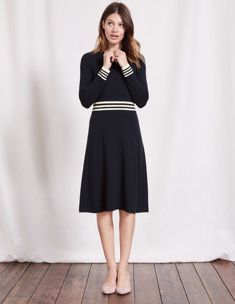 Hilda Knitted Dress Navy/Ivory Stripe Women, Navy/Ivory Stripe - length: below the knee; pattern: striped; secondary colour: white; predominant colour: black; occasions: evening; fit: fitted at waist & bust; style: fit & flare; fibres: wool - mix; neckline: crew; sleeve length: long sleeve; sleeve style: standard; texture group: knits/crochet; pattern type: fabric; multicoloured: multicoloured; season: a/w 2016; wardrobe: event