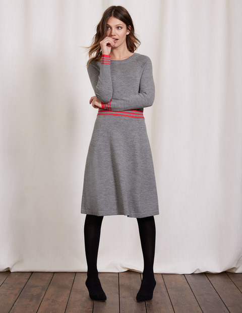 Hilda Knitted Dress Grey Melange/Anemone Stripe Women, Grey Melange/Anemone Stripe - length: below the knee; pattern: horizontal stripes; secondary colour: true red; predominant colour: mid grey; occasions: casual; fit: fitted at waist & bust; style: fit & flare; fibres: wool - mix; neckline: crew; sleeve length: long sleeve; sleeve style: standard; texture group: knits/crochet; pattern type: fabric; season: a/w 2016; wardrobe: highlight