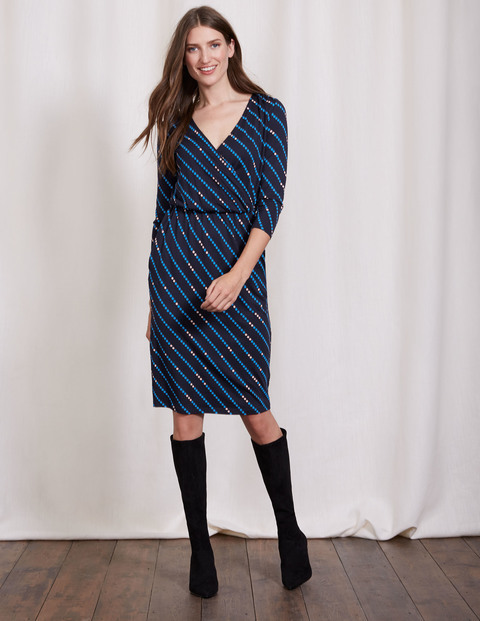 Cressida Dress Navy Diagonal Spot Women, Navy Diagonal Spot - style: faux wrap/wrap; neckline: v-neck; pattern: striped; waist detail: belted waist/tie at waist/drawstring; predominant colour: navy; occasions: evening; length: on the knee; fit: body skimming; fibres: cotton - mix; sleeve length: long sleeve; sleeve style: standard; pattern type: fabric; texture group: jersey - stretchy/drapey; season: a/w 2016