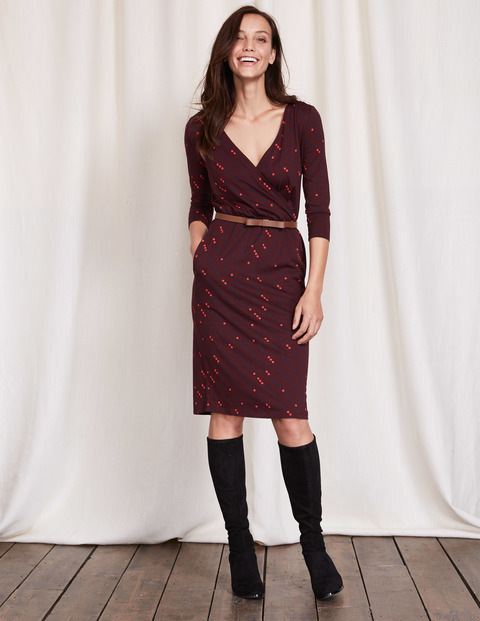Cressida Dress Garnet Diagonal Spot Women, Garnet Diagonal Spot - style: faux wrap/wrap; neckline: low v-neck; waist detail: belted waist/tie at waist/drawstring; predominant colour: burgundy; occasions: evening; length: on the knee; fit: body skimming; fibres: polyester/polyamide - stretch; sleeve length: long sleeve; sleeve style: standard; pattern type: fabric; pattern: patterned/print; texture group: jersey - stretchy/drapey; season: a/w 2016; wardrobe: event