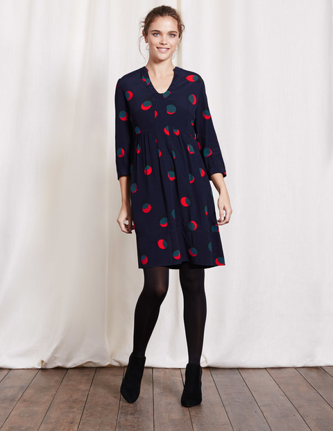 Mollie Dress Navy Eclipsed Spot Women, Navy Eclipsed Spot - style: empire line; neckline: v-neck; fit: empire; secondary colour: true red; predominant colour: navy; occasions: evening; length: just above the knee; fibres: viscose/rayon - 100%; sleeve length: 3/4 length; sleeve style: standard; pattern type: fabric; pattern: patterned/print; texture group: jersey - stretchy/drapey; multicoloured: multicoloured; season: a/w 2016; wardrobe: event