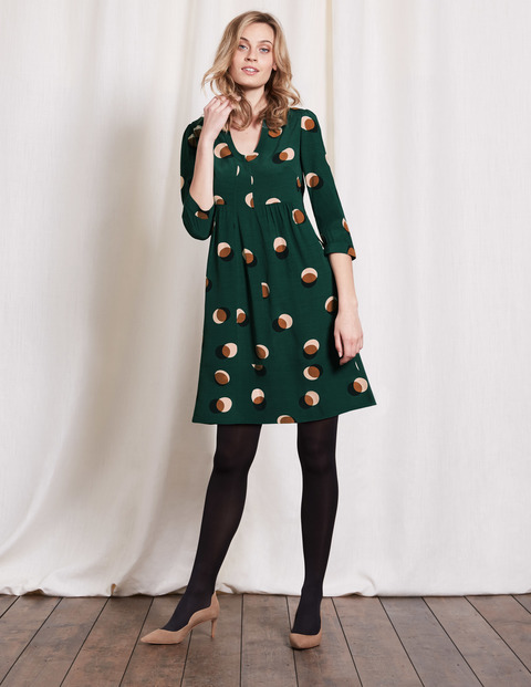Mollie Dress Emerald Night Eclipsed Spot Women, Emerald Night Eclipsed Spot - style: empire line; neckline: v-neck; fit: empire; predominant colour: dark green; secondary colour: nude; occasions: evening, creative work; length: just above the knee; fibres: viscose/rayon - 100%; sleeve length: 3/4 length; sleeve style: standard; pattern type: fabric; pattern: patterned/print; texture group: jersey - stretchy/drapey; multicoloured: multicoloured; season: a/w 2016; wardrobe: highlight
