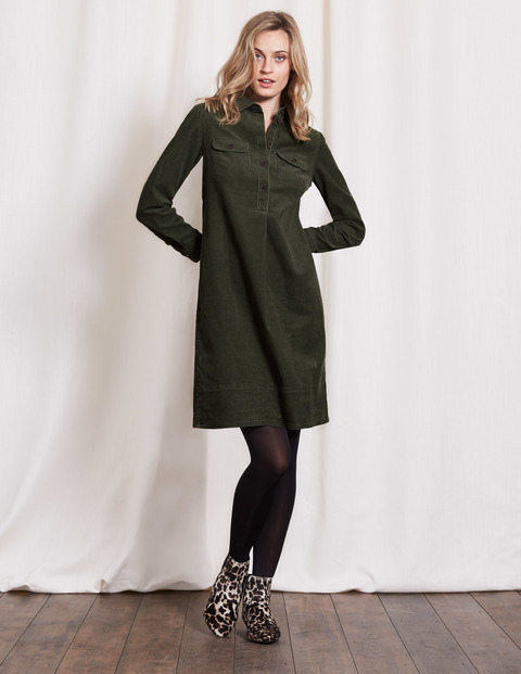 Lola Dress Marsh Cord Women, Marsh Cord - style: shirt; neckline: shirt collar/peter pan/zip with opening; fit: loose; pattern: plain; predominant colour: dark green; occasions: casual; length: just above the knee; fibres: cotton - stretch; sleeve length: long sleeve; sleeve style: standard; texture group: corduroy; pattern type: fabric; season: a/w 2016; wardrobe: highlight