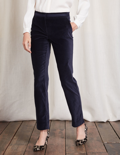 Richmond Velvet Trousers Navy Women, Navy - length: standard; pattern: plain; waist: mid/regular rise; predominant colour: navy; occasions: casual, work; fibres: cotton - stretch; fit: slim leg; pattern type: fabric; texture group: velvet/fabrics with pile; style: standard; season: a/w 2016; wardrobe: highlight