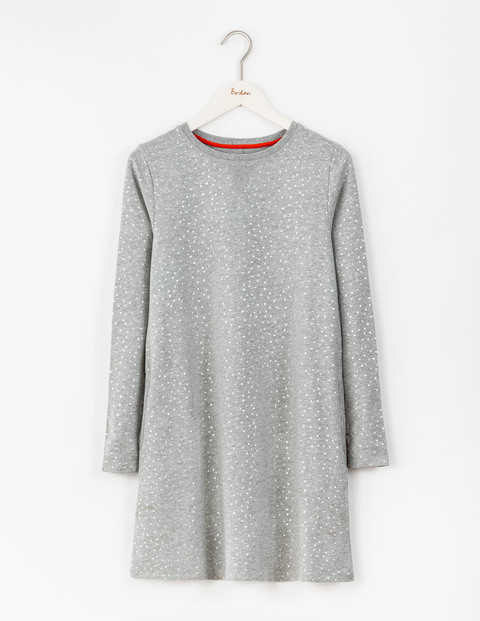 Off Duty Swing Tunic Grey Marl Small Spaced Spot Women, Grey Marl Small Spaced Spot - style: tunic; pattern: polka dot; predominant colour: mid grey; occasions: casual, creative work; fibres: cotton - 100%; fit: loose; neckline: crew; length: mid thigh; sleeve length: long sleeve; sleeve style: standard; pattern type: fabric; pattern size: light/subtle; texture group: jersey - stretchy/drapey; season: a/w 2016; wardrobe: highlight