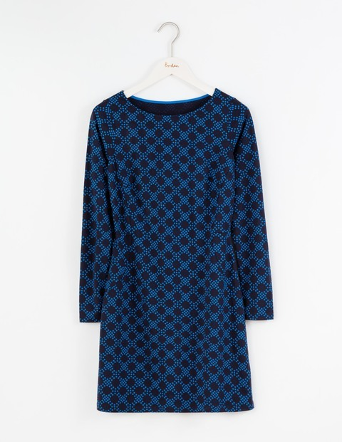 Mia Jersey Tunic Navy Large Honeycomb Spot Women, Navy Large Honeycomb Spot - neckline: round neck; style: kaftan; secondary colour: royal blue; predominant colour: navy; occasions: casual; fit: body skimming; length: mid thigh; sleeve length: long sleeve; sleeve style: standard; pattern type: fabric; pattern: patterned/print; texture group: jersey - stretchy/drapey; fibres: viscose/rayon - mix; pattern size: big & busy (top); season: a/w 2016; wardrobe: highlight