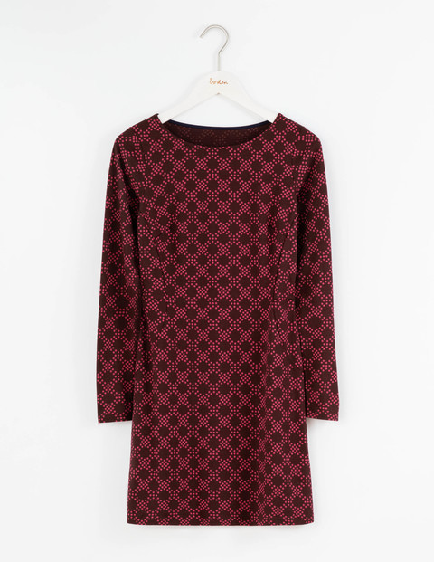 Mia Jersey Tunic Burgundy Large Honeycomb Spot Women, Burgundy Large Honeycomb Spot - neckline: round neck; style: tunic; predominant colour: burgundy; occasions: casual, creative work; fit: body skimming; length: mid thigh; sleeve length: long sleeve; sleeve style: standard; pattern type: fabric; pattern size: light/subtle; pattern: patterned/print; texture group: jersey - stretchy/drapey; fibres: viscose/rayon - mix; season: a/w 2016; wardrobe: highlight