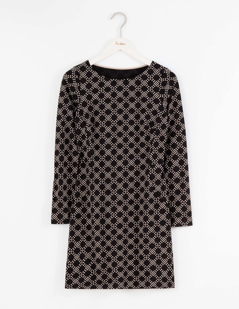 Mia Jersey Tunic Black Large Honeycomb Spot Women, Black Large Honeycomb Spot - neckline: round neck; pattern: plain; length: below the bottom; style: tunic; predominant colour: black; secondary colour: black; occasions: casual, creative work; fibres: cotton - mix; fit: body skimming; sleeve length: long sleeve; sleeve style: standard; pattern type: fabric; texture group: jersey - stretchy/drapey; wardrobe: basic; season: a/w 2016