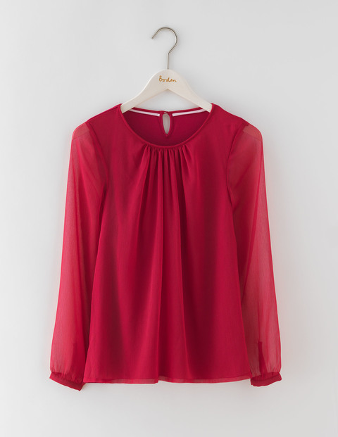 Eve Top Pom Pom Women, Pom Pom - neckline: round neck; pattern: plain; predominant colour: true red; occasions: work; length: standard; style: top; fibres: viscose/rayon - stretch; fit: loose; sleeve length: long sleeve; sleeve style: standard; texture group: sheer fabrics/chiffon/organza etc.; pattern type: fabric; season: a/w 2016; wardrobe: highlight