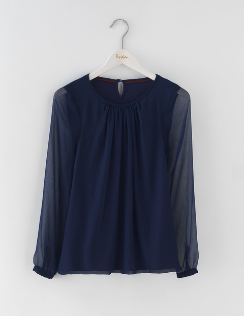 Eve Top Navy Women, Navy - neckline: round neck; pattern: plain; length: below the bottom; style: blouse; predominant colour: navy; occasions: evening; fibres: viscose/rayon - stretch; fit: loose; sleeve length: long sleeve; sleeve style: standard; pattern type: fabric; texture group: jersey - stretchy/drapey; season: a/w 2016; wardrobe: event