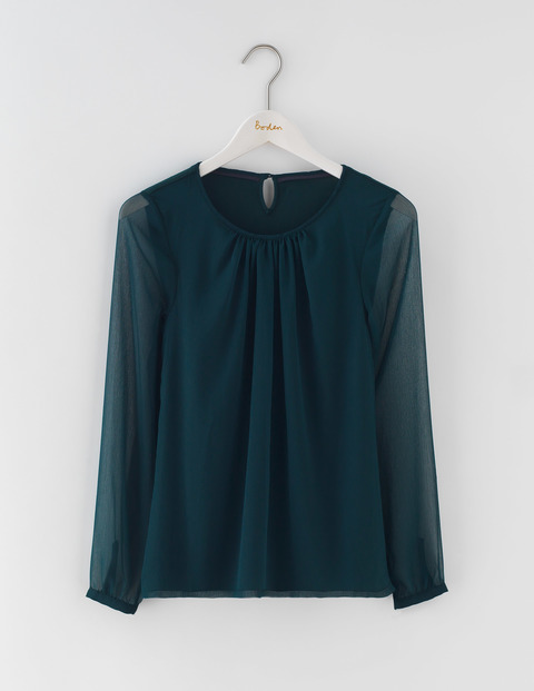 Eve Top Glade Women, Glade - pattern: plain; predominant colour: dark green; occasions: casual, creative work; length: standard; style: top; fibres: viscose/rayon - stretch; fit: body skimming; neckline: crew; sleeve length: long sleeve; sleeve style: standard; texture group: sheer fabrics/chiffon/organza etc.; pattern type: fabric; season: a/w 2016; wardrobe: highlight