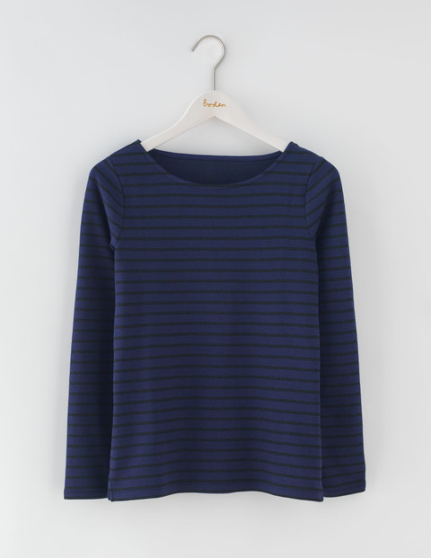 Long Sleeve Sparkle Breton Navy/Black Sparkle Stripe Women, Navy/Black Sparkle Stripe - neckline: round neck; pattern: horizontal stripes; predominant colour: navy; occasions: casual, creative work; length: standard; style: top; fibres: cotton - mix; fit: body skimming; sleeve length: long sleeve; sleeve style: standard; pattern type: fabric; texture group: jersey - stretchy/drapey; pattern size: big & busy (top); wardrobe: basic; season: a/w 2016