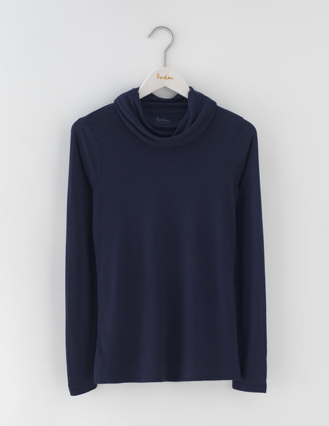 Luxe Cowl Neck Tee Navy Women, Navy - pattern: plain; neckline: roll neck; predominant colour: navy; occasions: casual; length: standard; style: top; fit: body skimming; sleeve length: long sleeve; sleeve style: standard; texture group: knits/crochet; pattern type: fabric; fibres: viscose/rayon - mix; season: a/w 2016
