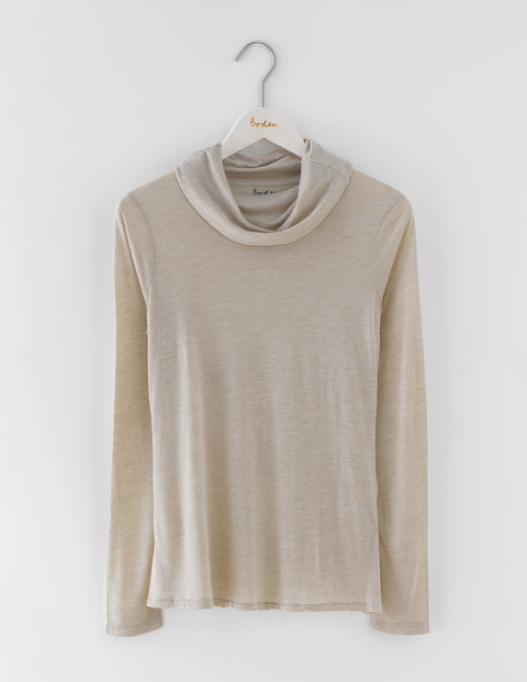 Luxe Cowl Neck Tee Chinchilla Marl Women, Chinchilla Marl - neckline: cowl/draped neck; pattern: plain; predominant colour: stone; occasions: casual, creative work; length: standard; style: top; fit: body skimming; sleeve length: long sleeve; sleeve style: standard; pattern type: fabric; texture group: jersey - stretchy/drapey; fibres: viscose/rayon - mix; season: a/w 2016