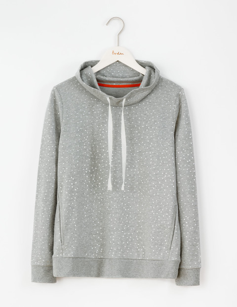 Off Duty Cowl Sweatshirt Grey Marl Small Spaced Spot Women, Grey Marl Small Spaced Spot - neckline: high neck; style: sweat top; pattern: polka dot; predominant colour: light grey; occasions: casual; length: standard; fibres: cotton - 100%; fit: loose; sleeve length: long sleeve; sleeve style: standard; pattern type: fabric; texture group: jersey - stretchy/drapey; season: a/w 2016; wardrobe: highlight