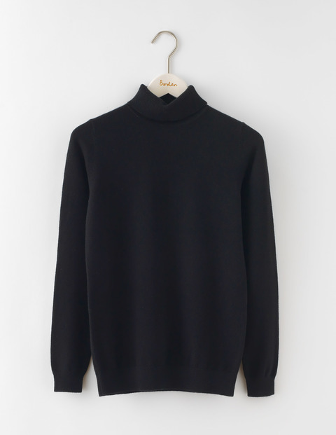Cashmere Rollneck Jumper Black Women, Black - pattern: plain; length: below the bottom; neckline: roll neck; style: standard; predominant colour: black; occasions: casual, creative work; fit: standard fit; fibres: cashmere - 100%; sleeve length: long sleeve; sleeve style: standard; texture group: knits/crochet; pattern type: knitted - fine stitch; wardrobe: investment; season: a/w 2016