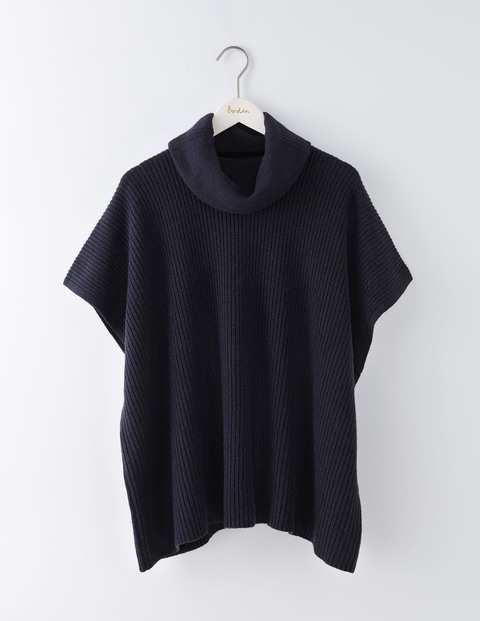 Clara Knitted Poncho Navy Women, Navy - pattern: plain; length: standard; fit: loose; style: poncho/blanket; collar: high neck; predominant colour: navy; occasions: casual; fibres: nylon - mix; sleeve length: short sleeve; texture group: knits/crochet; collar break: high; pattern type: fabric; sleeve style: cape/poncho sleeve; season: a/w 2016; wardrobe: highlight