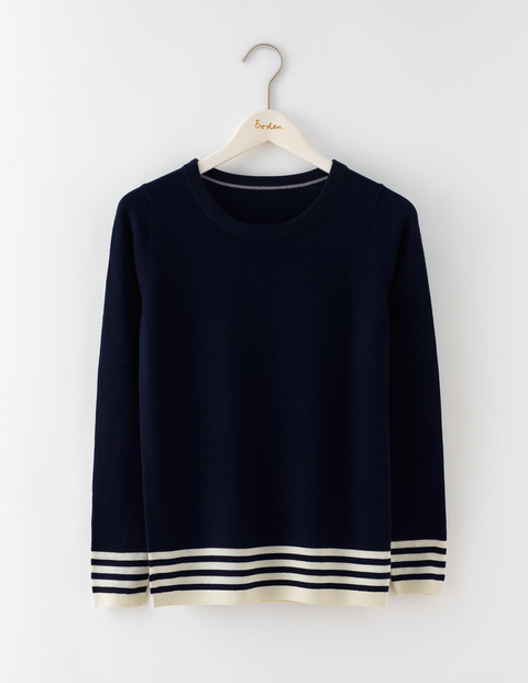 Hilda Jumper Navy/Ivory Stripe Women, Navy/Ivory Stripe - pattern: horizontal stripes; style: standard; secondary colour: white; predominant colour: navy; occasions: casual; length: standard; fibres: wool - 100%; fit: standard fit; neckline: crew; sleeve length: long sleeve; sleeve style: standard; texture group: knits/crochet; pattern type: knitted - fine stitch; multicoloured: multicoloured; season: a/w 2016; wardrobe: highlight