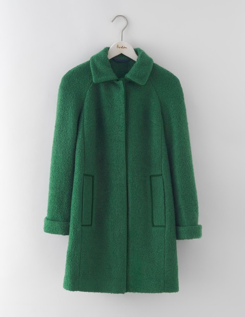 Bridget Bouclé Coat Hunter Green Women, Hunter Green - pattern: plain; style: single breasted; length: mid thigh; predominant colour: dark green; occasions: casual, creative work; fit: straight cut (boxy); fibres: polyester/polyamide - mix; collar: shirt collar/peter pan/zip with opening; sleeve length: long sleeve; sleeve style: standard; collar break: high; pattern type: fabric; texture group: woven bulky/heavy; season: a/w 2016; wardrobe: highlight