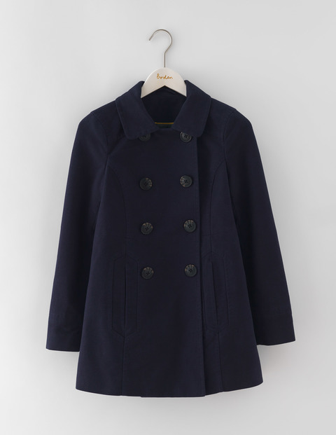 Rose Coat Navy Women, Navy - pattern: plain; length: standard; style: double breasted; predominant colour: navy; occasions: casual; fit: straight cut (boxy); fibres: cotton - stretch; collar: shirt collar/peter pan/zip with opening; sleeve length: long sleeve; sleeve style: standard; collar break: high; pattern type: fabric; texture group: woven bulky/heavy; season: a/w 2016