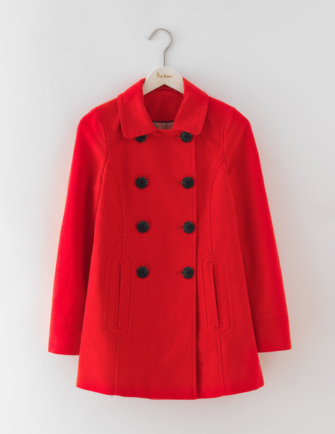 Rose Coat Beatnik Red Women, Beatnik Red - pattern: plain; length: below the bottom; style: double breasted; predominant colour: true red; secondary colour: black; occasions: casual, creative work; fit: straight cut (boxy); fibres: wool - mix; collar: shirt collar/peter pan/zip with opening; sleeve length: long sleeve; sleeve style: standard; collar break: high; pattern type: fabric; texture group: woven bulky/heavy; season: a/w 2016