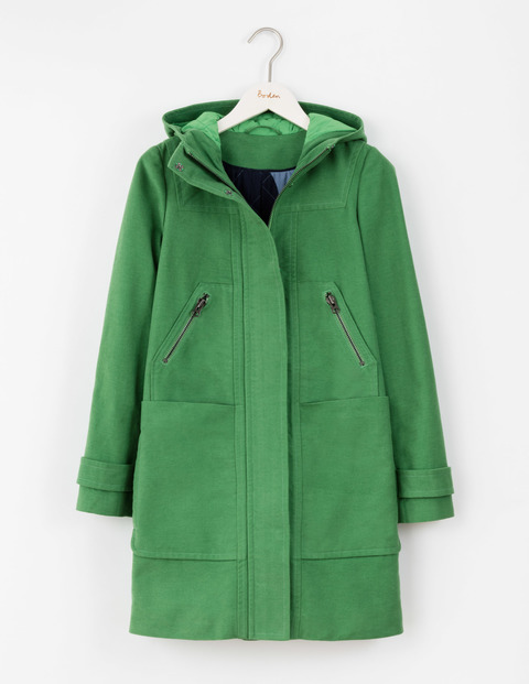 Moleskin Duffle Coat Rich Green Women, Rich Green - pattern: plain; collar: funnel; back detail: hood; style: duffle coat; length: mid thigh; predominant colour: emerald green; occasions: casual, creative work; fit: straight cut (boxy); fibres: wool - mix; sleeve length: long sleeve; sleeve style: standard; collar break: high; pattern type: fabric; texture group: woven bulky/heavy; season: a/w 2016; wardrobe: highlight