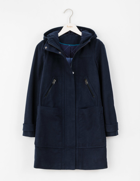 Moleskin Duffle Coat Navy Women, Navy - pattern: plain; length: below the bottom; collar: funnel; fit: loose; back detail: hood; style: duffle coat; predominant colour: navy; occasions: casual; fibres: cotton - stretch; sleeve length: long sleeve; sleeve style: standard; collar break: high; pattern type: fabric; texture group: woven bulky/heavy; season: a/w 2016