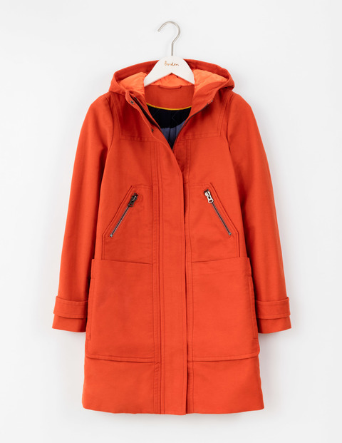 Moleskin Duffle Coat Autumn Spice Women, Autumn Spice - pattern: plain; length: below the bottom; collar: funnel; fit: loose; back detail: hood; style: duffle coat; predominant colour: bright orange; occasions: casual; fibres: cotton - stretch; sleeve length: long sleeve; sleeve style: standard; collar break: high; pattern type: fabric; texture group: woven light midweight; season: a/w 2016; wardrobe: highlight