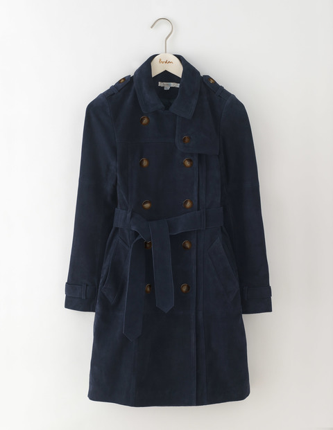 Suede Trench Coat Navy Women, Navy - pattern: plain; length: below the bottom; style: trench coat; fit: slim fit; predominant colour: navy; occasions: casual; fibres: leather - 100%; collar: shirt collar/peter pan/zip with opening; waist detail: belted waist/tie at waist/drawstring; sleeve length: long sleeve; sleeve style: standard; collar break: high; pattern type: fabric; texture group: suede; season: a/w 2016; wardrobe: highlight