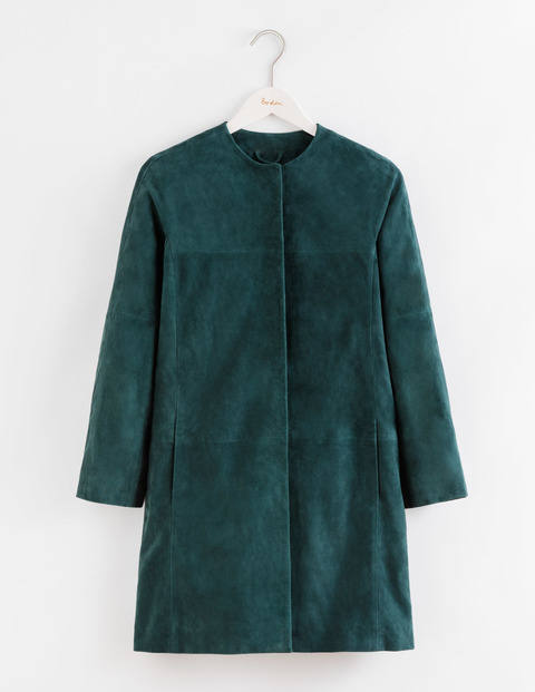 Suede Sienna Glade Women, Glade - pattern: plain; length: below the bottom; collar: round collar/collarless; fit: loose; style: single breasted; predominant colour: dark green; occasions: casual; fibres: leather - 100%; sleeve length: long sleeve; sleeve style: standard; collar break: high; pattern type: fabric; texture group: suede; season: a/w 2016; wardrobe: highlight