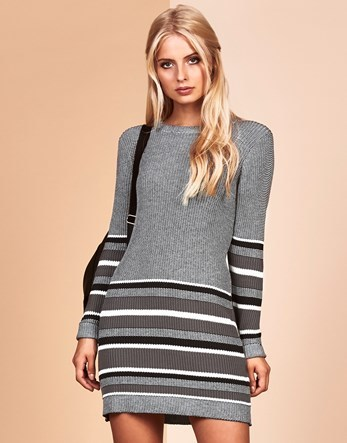 Knitwear Dress - style: jumper dress; length: mid thigh; pattern: horizontal stripes; hip detail: draws attention to hips; secondary colour: white; predominant colour: light grey; occasions: casual; fit: body skimming; fibres: acrylic - mix; neckline: crew; sleeve length: long sleeve; sleeve style: standard; texture group: knits/crochet; pattern type: knitted - fine stitch; multicoloured: multicoloured; wardrobe: basic; season: a/w 2016