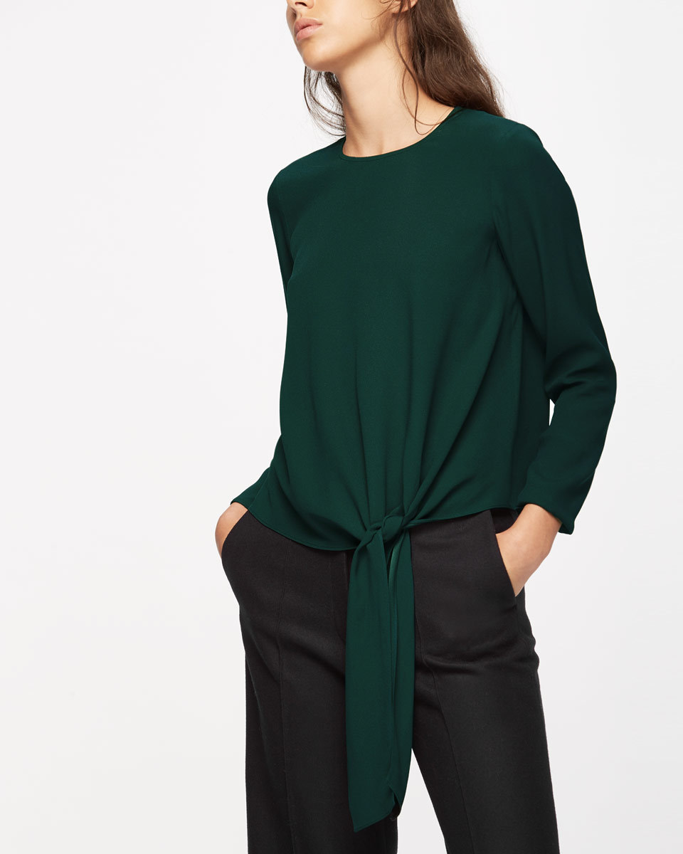 Satin Back Crepe Tie Top - pattern: plain; waist detail: belted waist/tie at waist/drawstring; predominant colour: dark green; occasions: evening; length: standard; style: top; fibres: viscose/rayon - 100%; fit: body skimming; neckline: crew; sleeve length: long sleeve; sleeve style: standard; texture group: crepes; pattern type: fabric; season: a/w 2016; wardrobe: event
