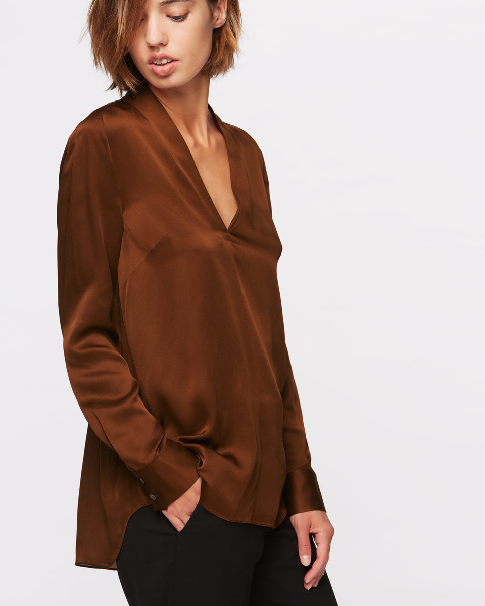 Dahlia Silk Blouse - neckline: v-neck; pattern: plain; length: below the bottom; style: blouse; predominant colour: chocolate brown; occasions: evening; fibres: silk - 100%; fit: loose; sleeve length: long sleeve; sleeve style: standard; texture group: silky - light; pattern type: fabric; season: a/w 2016; wardrobe: event
