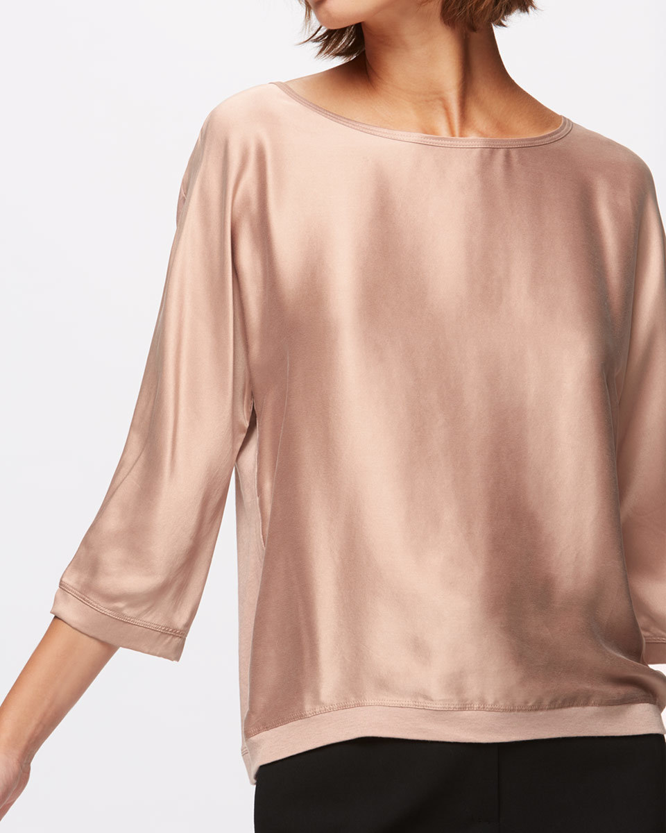 Silk Satin Batwing Top - neckline: round neck; pattern: plain; predominant colour: champagne; occasions: evening; length: standard; style: top; fibres: silk - 100%; fit: loose; sleeve length: 3/4 length; sleeve style: standard; texture group: silky - light; pattern type: fabric; season: a/w 2016