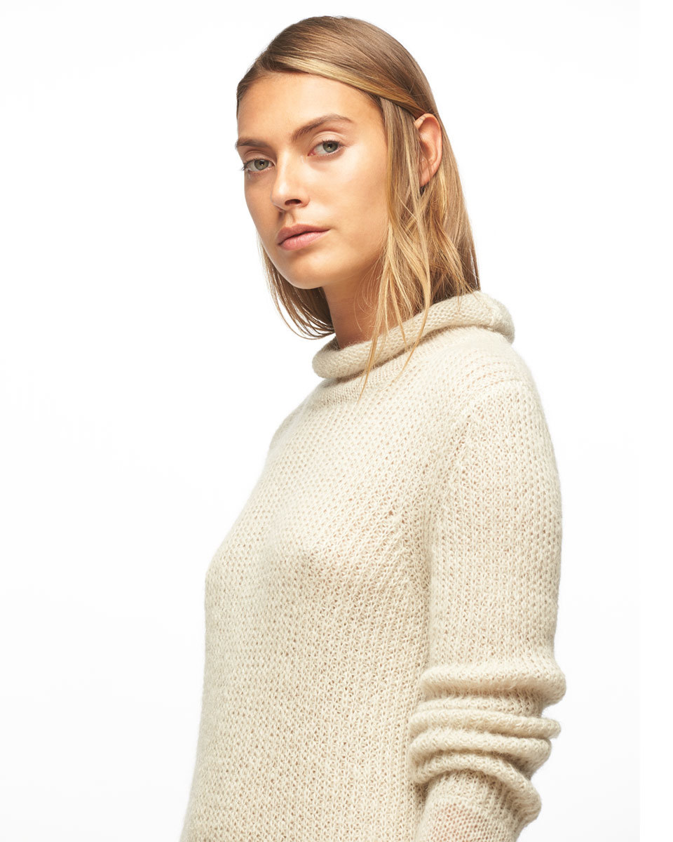 Sheer Mohair Jumper - pattern: plain; neckline: roll neck; style: standard; predominant colour: ivory/cream; occasions: casual; length: standard; fibres: wool - mix; fit: standard fit; sleeve length: long sleeve; sleeve style: standard; texture group: knits/crochet; pattern type: knitted - fine stitch; season: a/w 2016