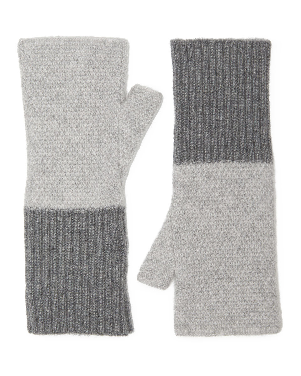 Savannah Cashmere Mitten - secondary colour: mid grey; predominant colour: light grey; occasions: casual; type of pattern: standard; style: mittens; length: wrist; pattern: colourblock; material: cashmere; multicoloured: multicoloured; season: a/w 2016