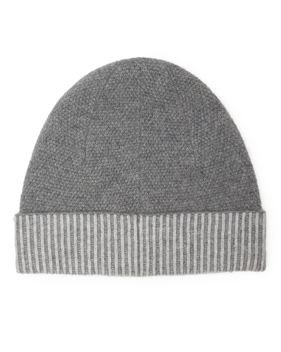 Savannah Cashmere Hat - predominant colour: mid grey; secondary colour: light grey; occasions: casual; type of pattern: standard; style: beanie; size: standard; material: knits; pattern: colourblock; season: a/w 2016