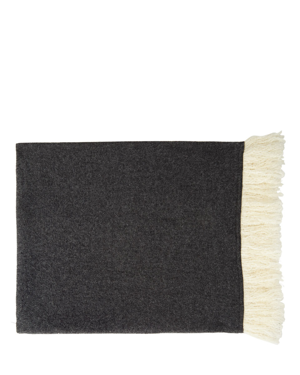 Suzie Wool Fringe Edged Scarf - predominant colour: black; occasions: casual, creative work; type of pattern: standard; style: regular; size: standard; material: fabric; pattern: plain; wardrobe: basic; season: a/w 2016