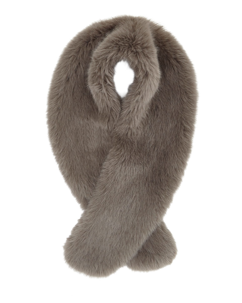 Serene Faux Fur Scarf - predominant colour: taupe; occasions: casual, creative work; type of pattern: standard; material: faux fur; pattern: plain; size: small; style: stole; wardrobe: basic; season: a/w 2016