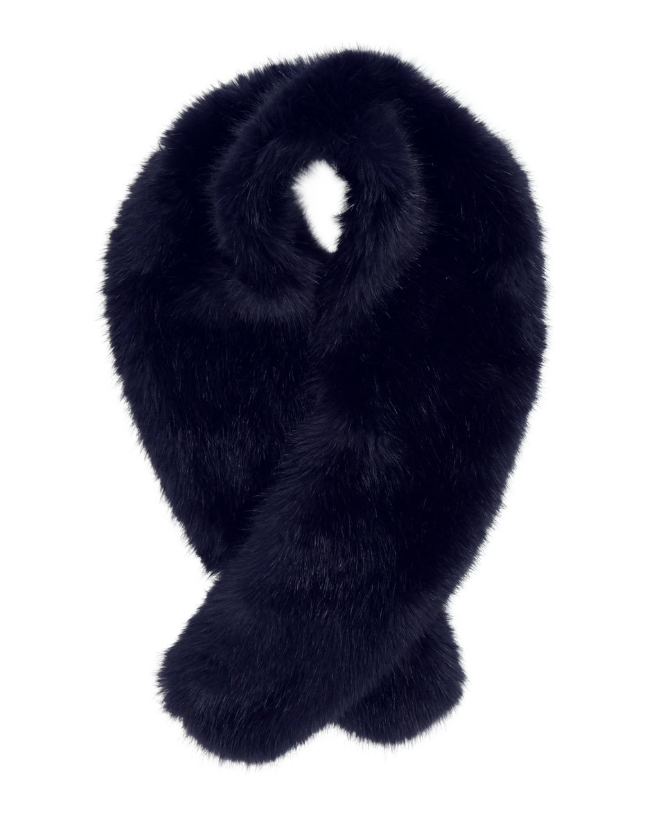 Serene Faux Fur Scarf - predominant colour: navy; occasions: casual, creative work; type of pattern: standard; size: standard; material: fur; pattern: plain; style: stole; wardrobe: basic; season: a/w 2016