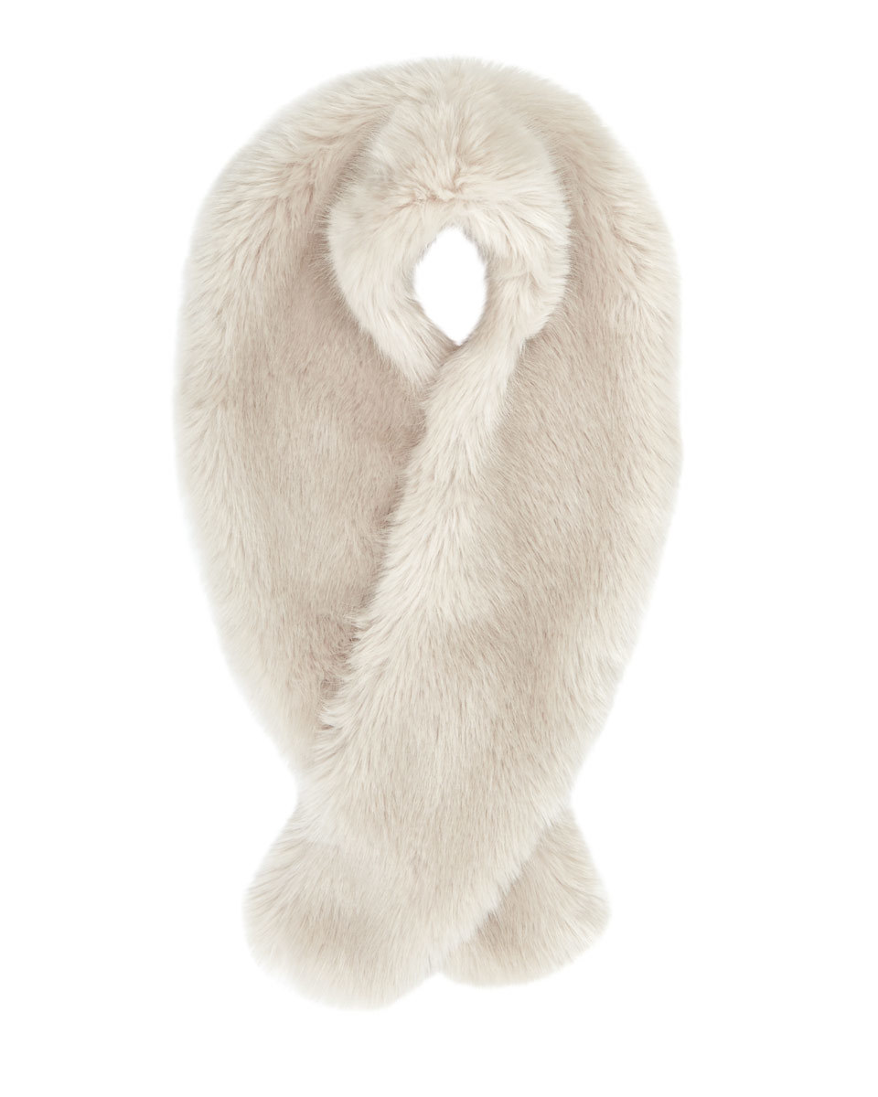 Serene Faux Fur Scarf - predominant colour: ivory/cream; occasions: casual, creative work; type of pattern: standard; size: standard; material: faux fur; pattern: plain; style: stole; wardrobe: basic; season: a/w 2016