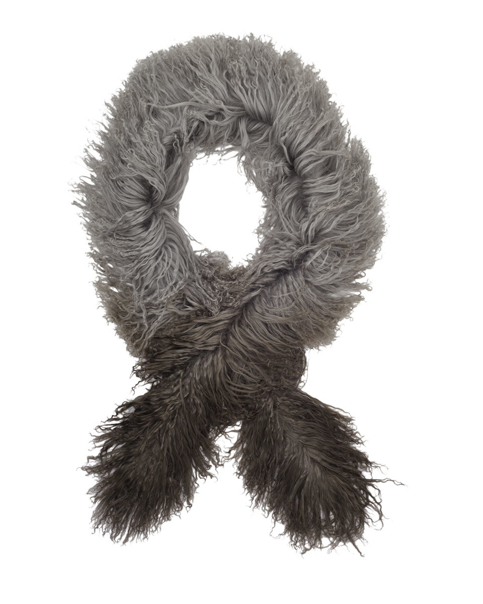 Selma Ombre Sheepskin Scarf - predominant colour: mid grey; secondary colour: black; occasions: casual, creative work; type of pattern: light; size: large; material: knits; pattern: colourblock; style: stole; season: a/w 2016; wardrobe: highlight